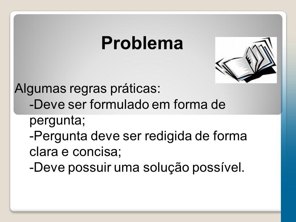 Problema Algumas regras práticas: -Deve ser formulado em forma de pergunta; -Pergunta deve ser redigida de forma clara e concisa; -Deve possuir uma solução possível.
