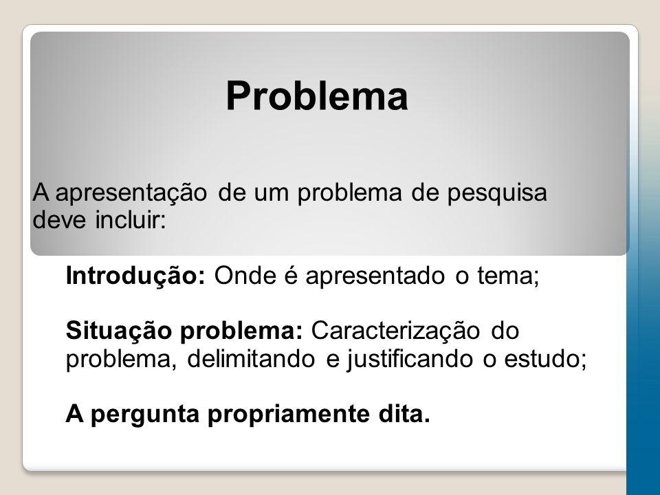 Problema A apresentação de um problema de pesquisa deve incluir: Introdução: Onde é apresentado o tema; Situação problema: Caracterização do problema, delimitando e justificando o estudo; A pergunta propriamente dita.