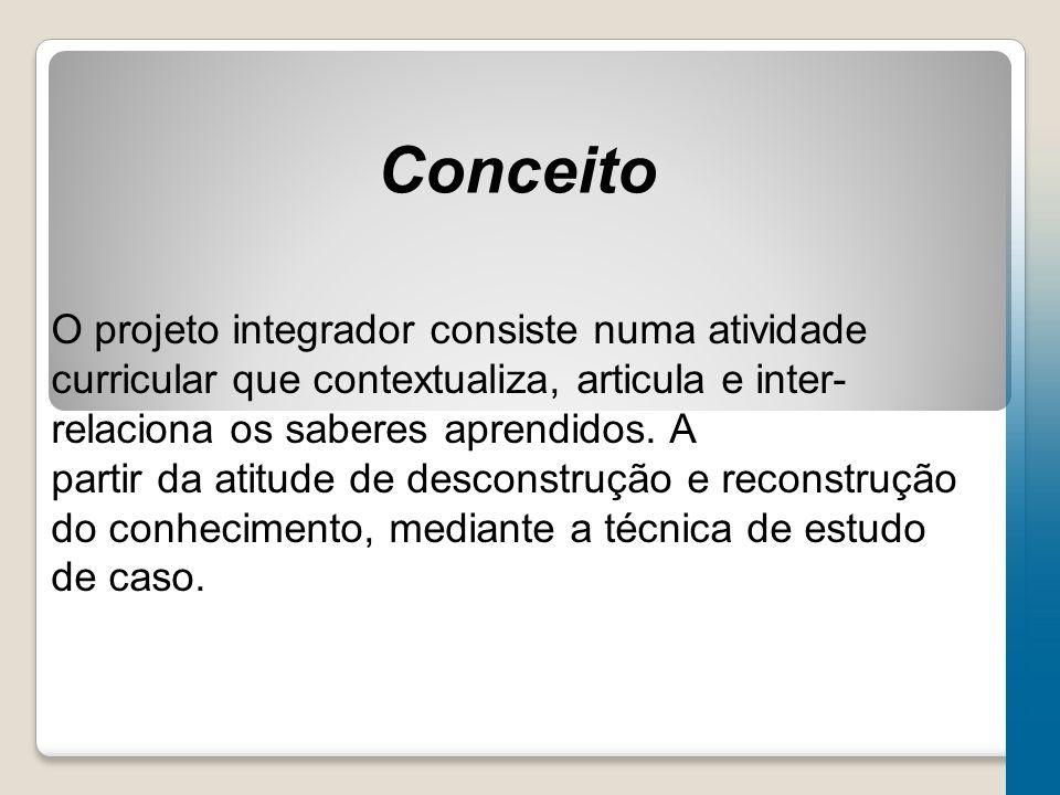 Conceito O projeto integrador consiste numa atividade curricular que contextualiza, articula e inter- relaciona os saberes aprendidos.
