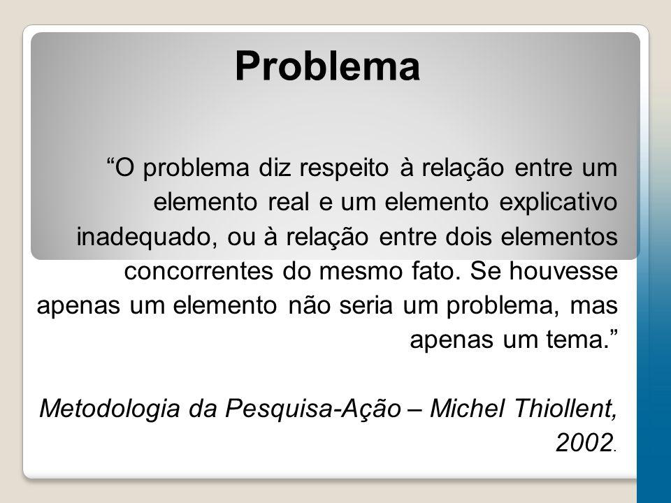 """Problema """"O problema diz respeito à relação entre um elemento real e um elemento explicativo inadequado, ou à relação entre dois elementos concorrente"""