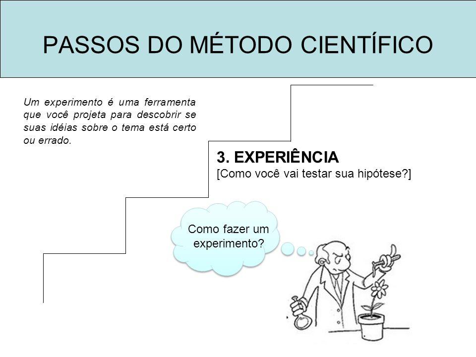 PASSOS DO MÉTODO CIENTÍFICO 3. EXPERIÊNCIA [Como você vai testar sua hipótese?] Como fazer um experimento? Um experimento é uma ferramenta que você pr