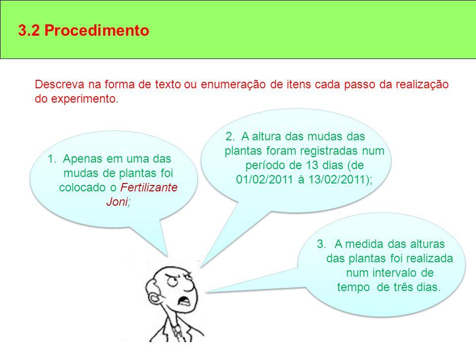 3.2 Procedimento Descreva na forma de texto ou enumeração de itens cada passo da realização do experimento.