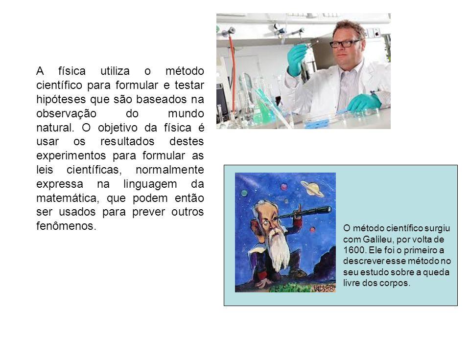 A física utiliza o método científico para formular e testar hipóteses que são baseados na observação do mundo natural.