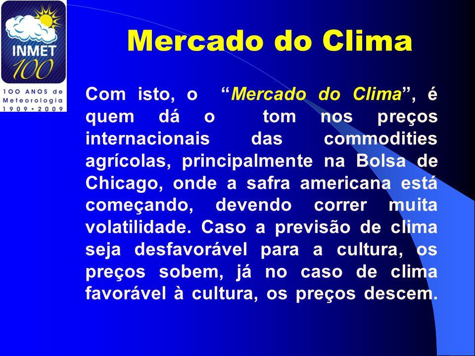 Mercado do Clima Com isto, o Mercado do Clima , é quem dá o tom nos preços internacionais das commodities agrícolas, principalmente na Bolsa de Chicago, onde a safra americana está começando, devendo correr muita volatilidade.