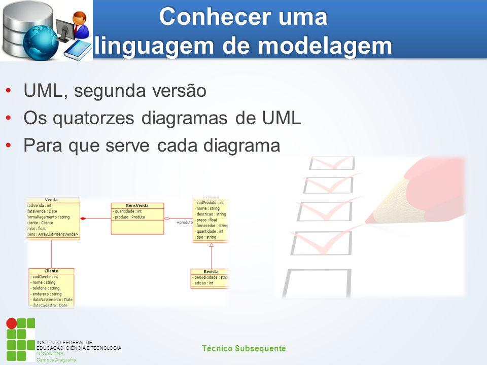 INSTITUTO FEDERAL DE EDUCAÇÃO, CIÊNCIA E TECNOLOGIA TOCANTINS Campus Araguaína Conhecer uma linguagem de modelagem UML, segunda versão Os quatorzes di