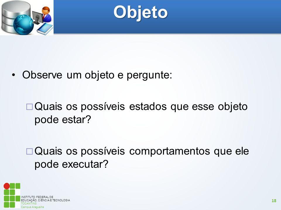 INSTITUTO FEDERAL DE EDUCAÇÃO, CIÊNCIA E TECNOLOGIA TOCANTINS Campus Araguaína 18 Observe um objeto e pergunte:  Quais os possíveis estados que esse