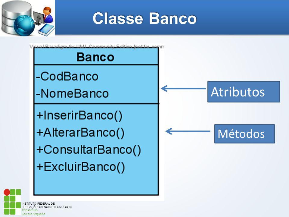INSTITUTO FEDERAL DE EDUCAÇÃO, CIÊNCIA E TECNOLOGIA TOCANTINS Campus Araguaína Classe Banco Atributos Métodos