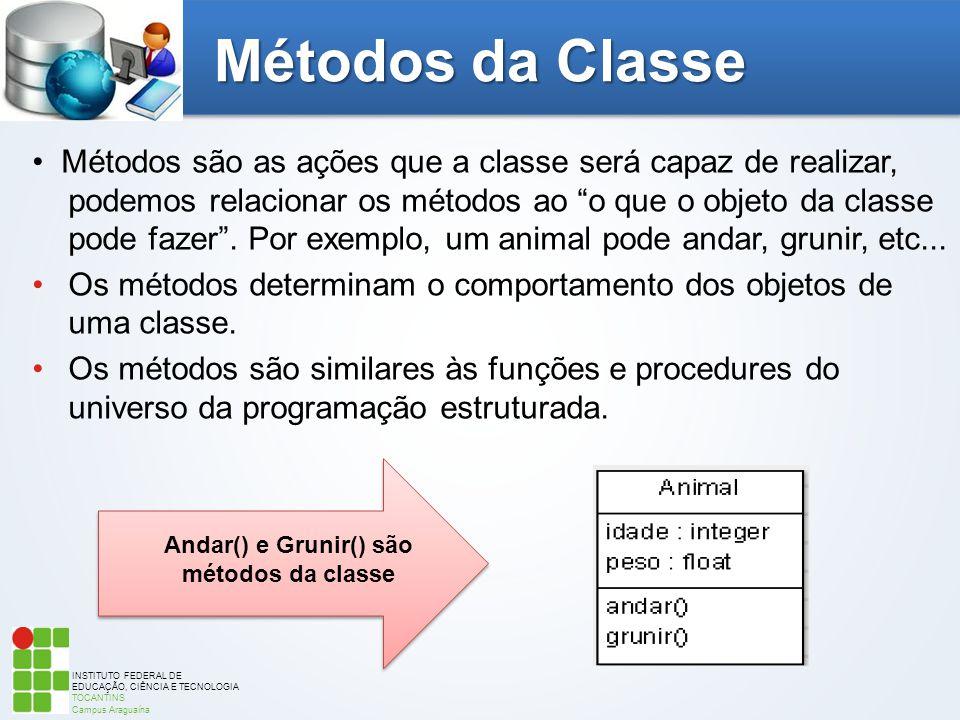 INSTITUTO FEDERAL DE EDUCAÇÃO, CIÊNCIA E TECNOLOGIA TOCANTINS Campus Araguaína Métodos da Classe Métodos são as ações que a classe será capaz de reali