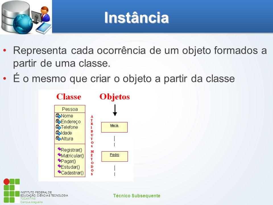 INSTITUTO FEDERAL DE EDUCAÇÃO, CIÊNCIA E TECNOLOGIA TOCANTINS Campus Araguaína Instância Representa cada ocorrência de um objeto formados a partir de