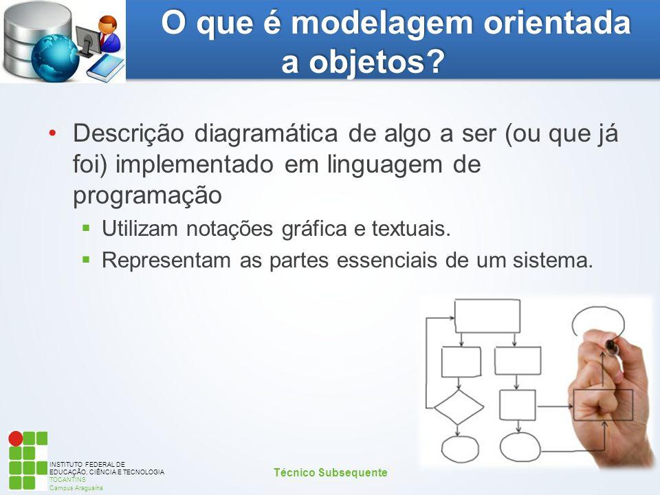 INSTITUTO FEDERAL DE EDUCAÇÃO, CIÊNCIA E TECNOLOGIA TOCANTINS Campus Araguaína O que é modelagem orientada a objetos? Descrição diagramática de algo a
