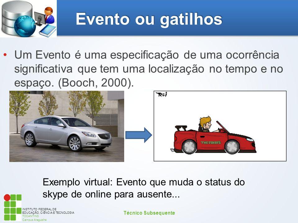 INSTITUTO FEDERAL DE EDUCAÇÃO, CIÊNCIA E TECNOLOGIA TOCANTINS Campus Araguaína Evento ou gatilhos Um Evento é uma especificação de uma ocorrência sign