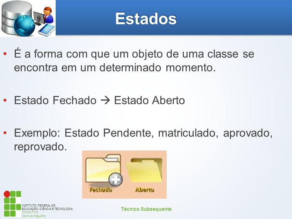 INSTITUTO FEDERAL DE EDUCAÇÃO, CIÊNCIA E TECNOLOGIA TOCANTINS Campus Araguaína Estados É a forma com que um objeto de uma classe se encontra em um det