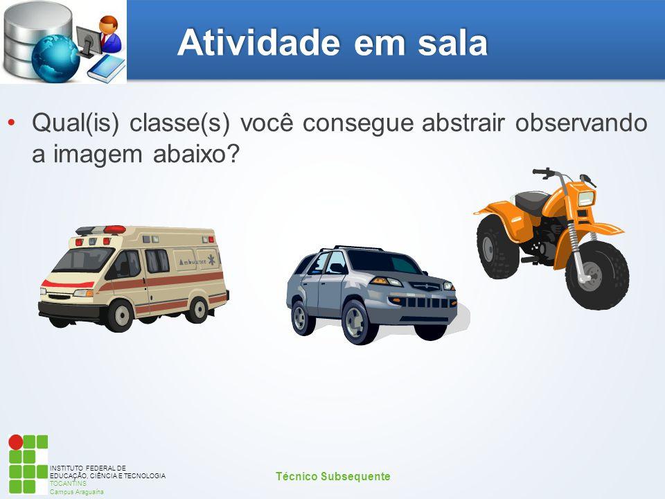 INSTITUTO FEDERAL DE EDUCAÇÃO, CIÊNCIA E TECNOLOGIA TOCANTINS Campus Araguaína Atividade em sala Qual(is) classe(s) você consegue abstrair observando