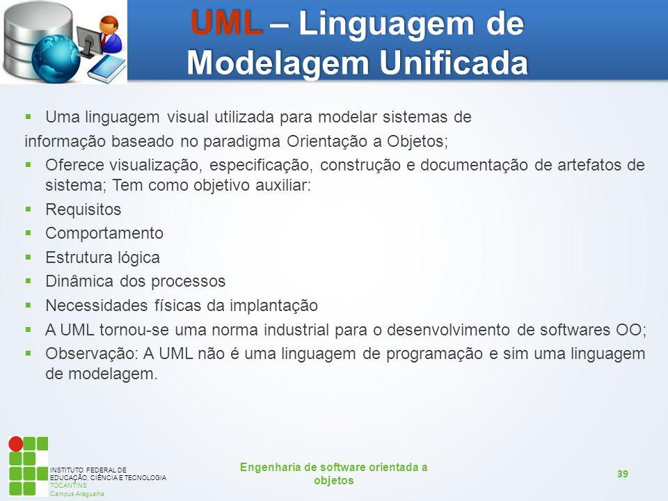 INSTITUTO FEDERAL DE EDUCAÇÃO, CIÊNCIA E TECNOLOGIA TOCANTINS Campus Araguaína Engenharia de software orientada a objetos 39  Uma linguagem visual ut