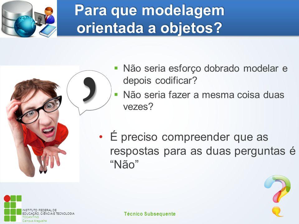 INSTITUTO FEDERAL DE EDUCAÇÃO, CIÊNCIA E TECNOLOGIA TOCANTINS Campus Araguaína Para que modelagem orientada a objetos?  Não seria esforço dobrado mod