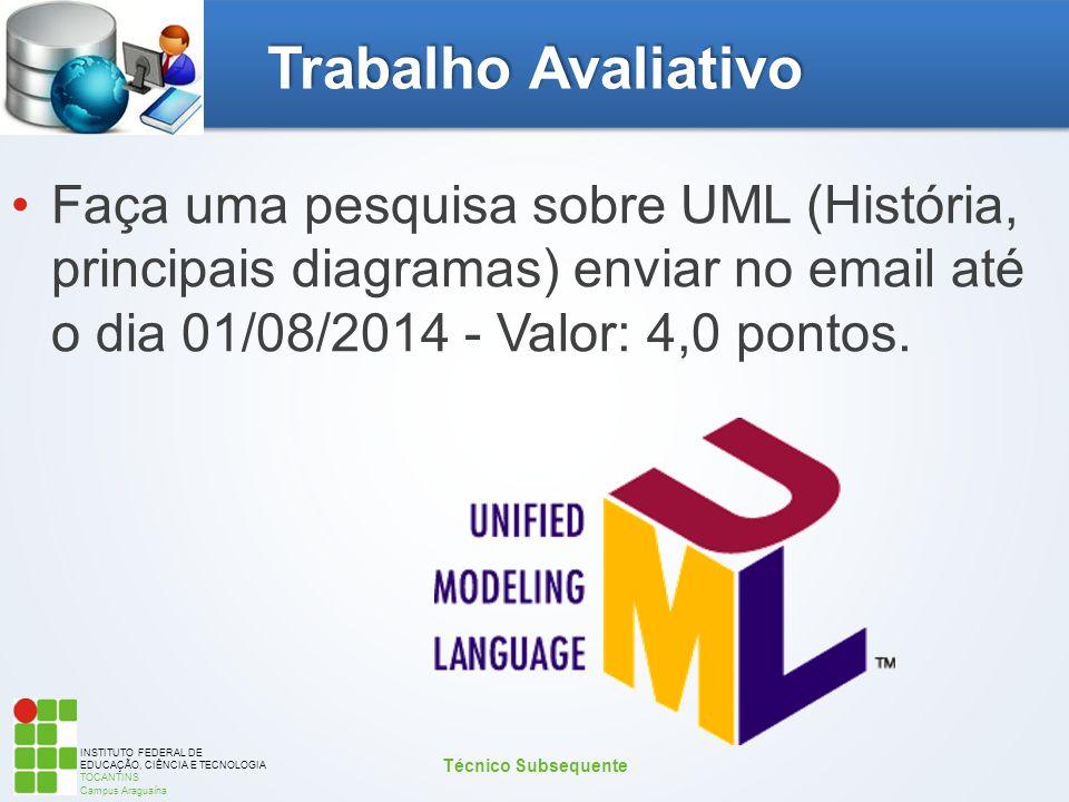 INSTITUTO FEDERAL DE EDUCAÇÃO, CIÊNCIA E TECNOLOGIA TOCANTINS Campus Araguaína Trabalho Avaliativo Faça uma pesquisa sobre UML (História, principais d