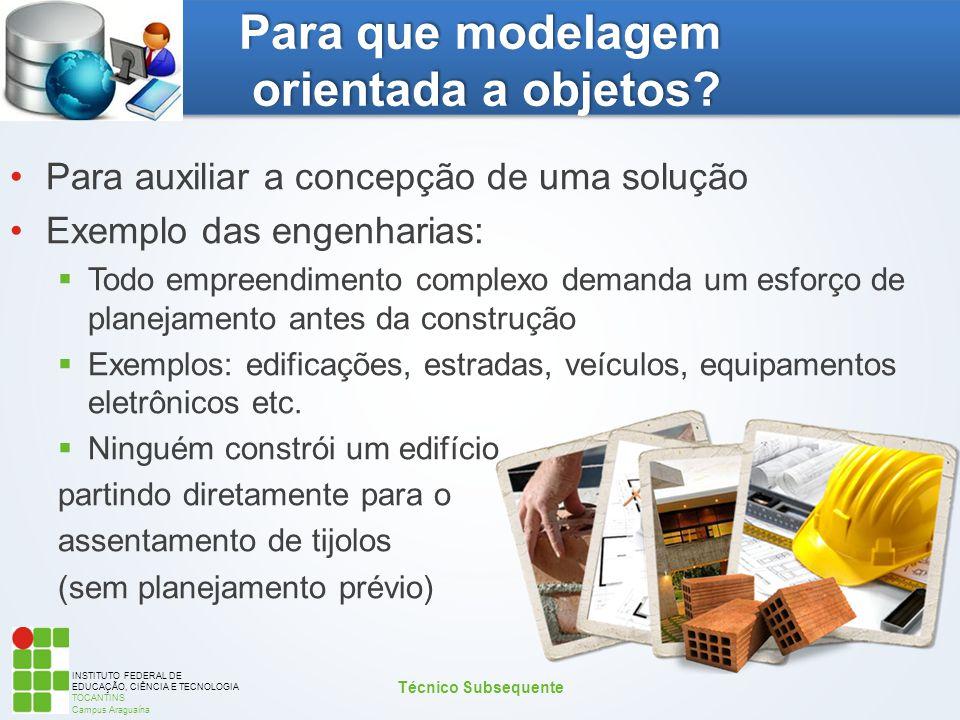 INSTITUTO FEDERAL DE EDUCAÇÃO, CIÊNCIA E TECNOLOGIA TOCANTINS Campus Araguaína Para que modelagem orientada a objetos? Para auxiliar a concepção de um