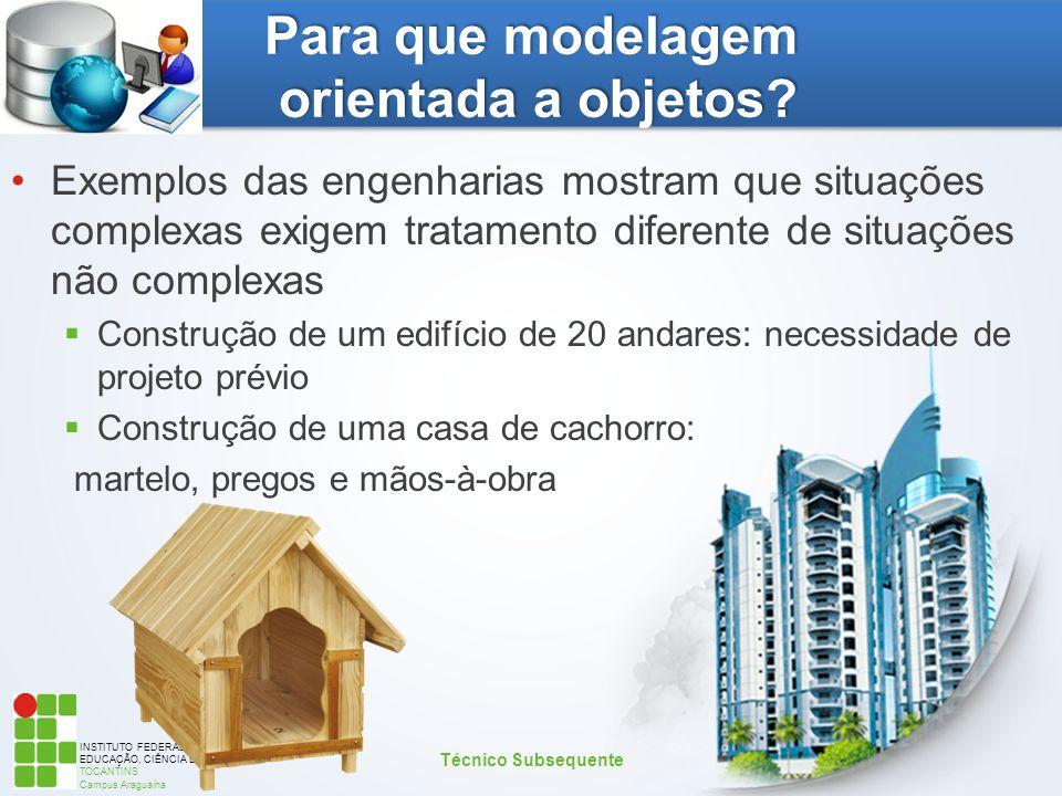 INSTITUTO FEDERAL DE EDUCAÇÃO, CIÊNCIA E TECNOLOGIA TOCANTINS Campus Araguaína Para que modelagem orientada a objetos? Exemplos das engenharias mostra