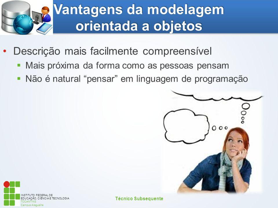 INSTITUTO FEDERAL DE EDUCAÇÃO, CIÊNCIA E TECNOLOGIA TOCANTINS Campus Araguaína Vantagens da modelagem orientada a objetos Descrição mais facilmente co