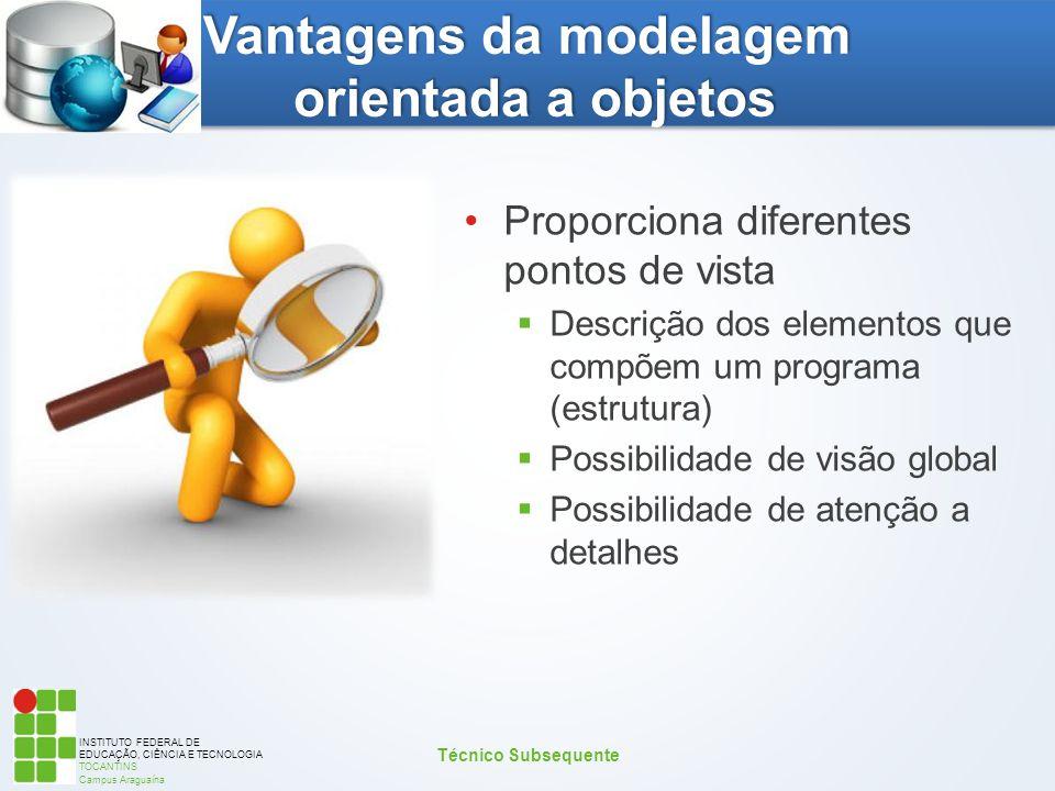 INSTITUTO FEDERAL DE EDUCAÇÃO, CIÊNCIA E TECNOLOGIA TOCANTINS Campus Araguaína Vantagens da modelagem orientada a objetos Proporciona diferentes ponto