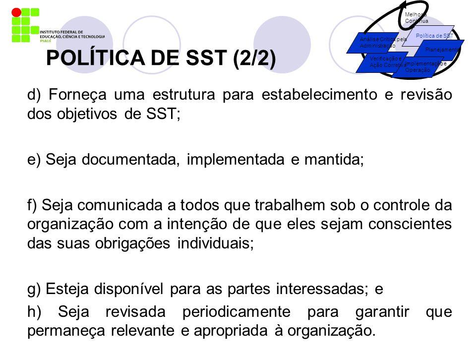 POLÍTICA DE SST (2/2) d) Forneça uma estrutura para estabelecimento e revisão dos objetivos de SST; e) Seja documentada, implementada e mantida; f) Se