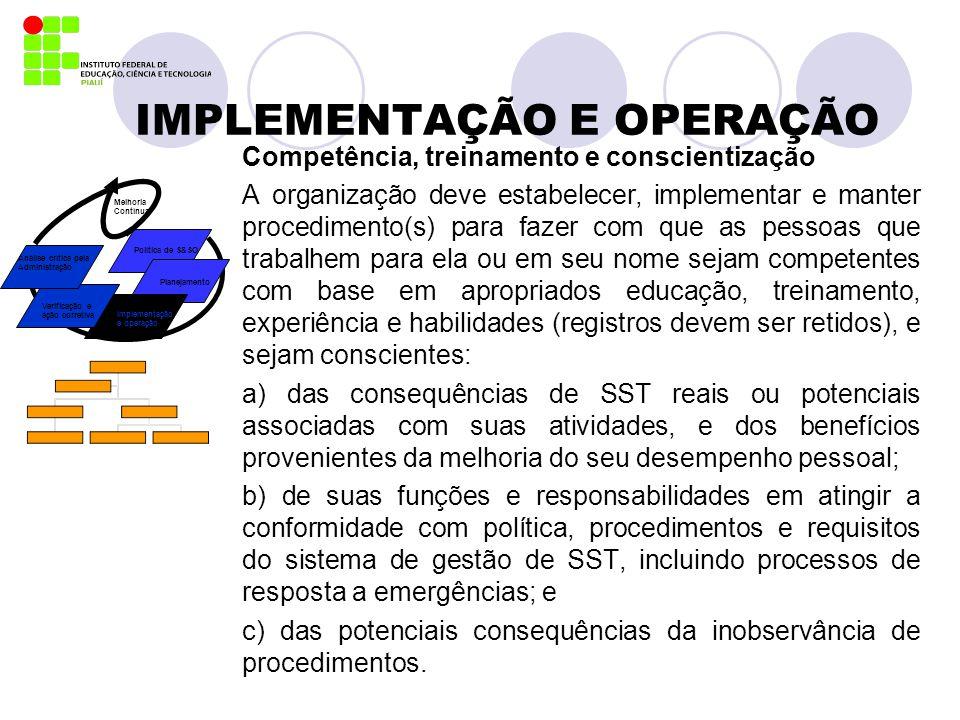 IMPLEMENTAÇÃO E OPERAÇÃO Competência, treinamento e conscientização A organização deve estabelecer, implementar e manter procedimento(s) para fazer co