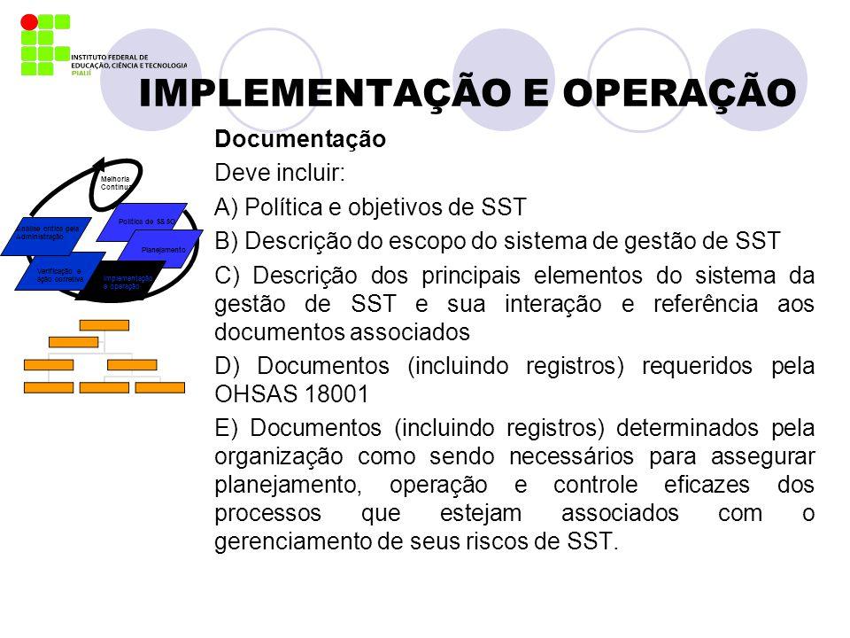 IMPLEMENTAÇÃO E OPERAÇÃO Documentação Deve incluir: A) Política e objetivos de SST B) Descrição do escopo do sistema de gestão de SST C) Descrição dos