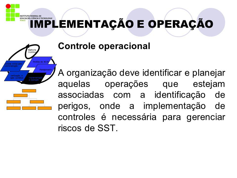 IMPLEMENTAÇÃO E OPERAÇÃO Controle operacional A organização deve identificar e planejar aquelas operações que estejam associadas com a identificação d