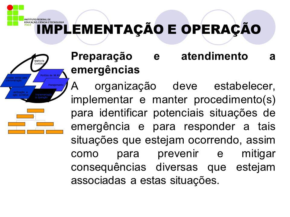 IMPLEMENTAÇÃO E OPERAÇÃO Preparação e atendimento a emergências A organização deve estabelecer, implementar e manter procedimento(s) para identificar