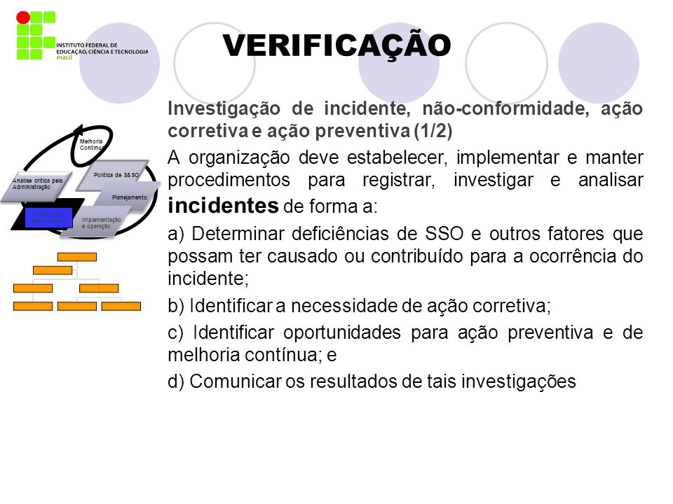 VERIFICAÇÃO Investigação de incidente, não-conformidade, ação corretiva e ação preventiva (1/2) A organização deve estabelecer, implementar e manter p
