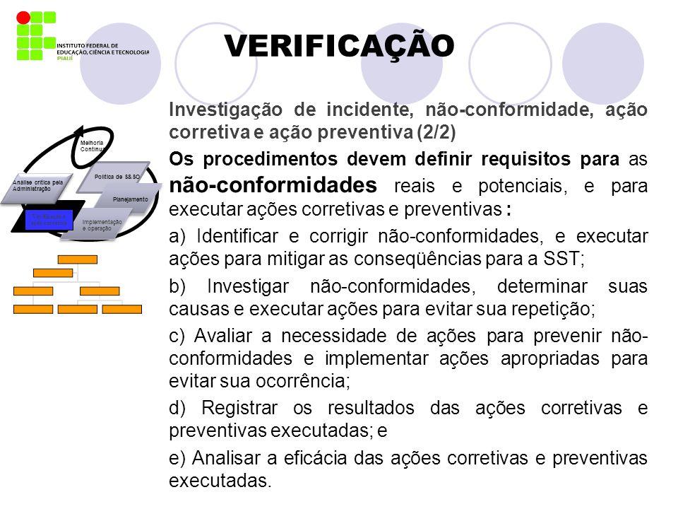 VERIFICAÇÃO Investigação de incidente, não-conformidade, ação corretiva e ação preventiva (2/2) Os procedimentos devem definir requisitos para as não-
