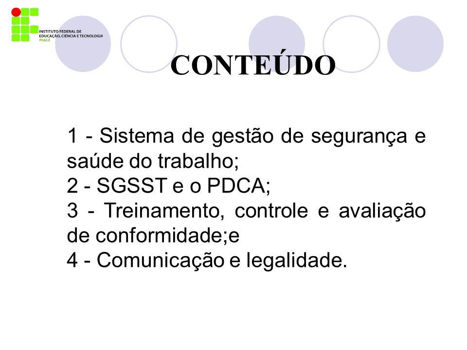 CONTEÚDO 1 - Sistema de gestão de segurança e saúde do trabalho; 2 - SGSST e o PDCA; 3 - Treinamento, controle e avaliação de conformidade;e 4 - Comun