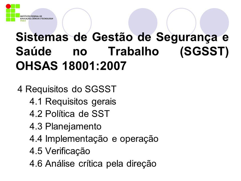 Sistemas de Gestão de Segurança e Saúde no Trabalho (SGSST) OHSAS 18001:2007 4 Requisitos do SGSST 4.1 Requisitos gerais 4.2 Política de SST 4.3 Plane
