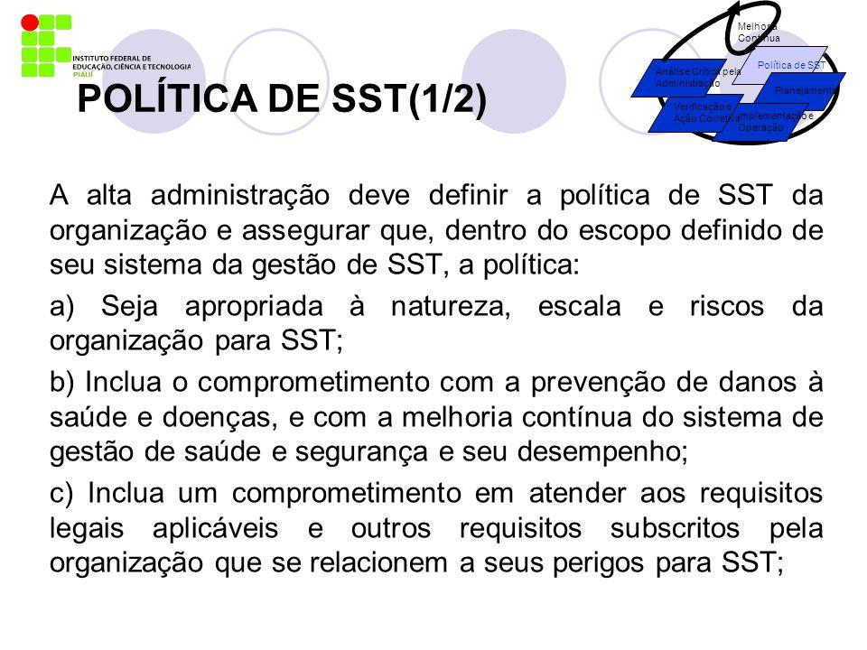 POLÍTICA DE SST(1/2) A alta administração deve definir a política de SST da organização e assegurar que, dentro do escopo definido de seu sistema da g