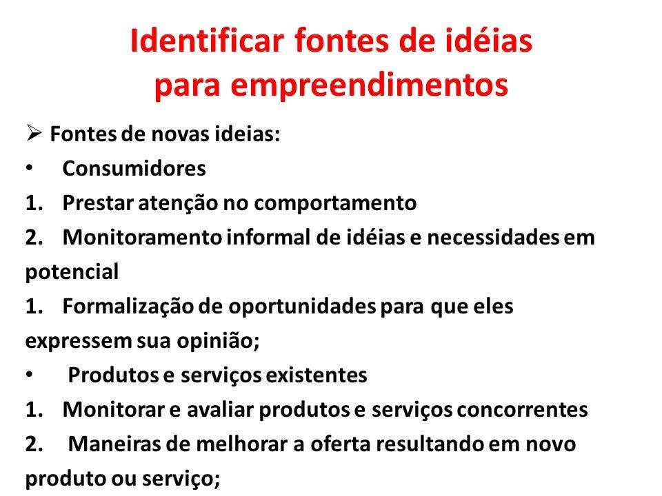 Identificar fontes de idéias para empreendimentos  Fontes de novas ideias: Consumidores 1.Prestar atenção no comportamento 2.Monitoramento informal d