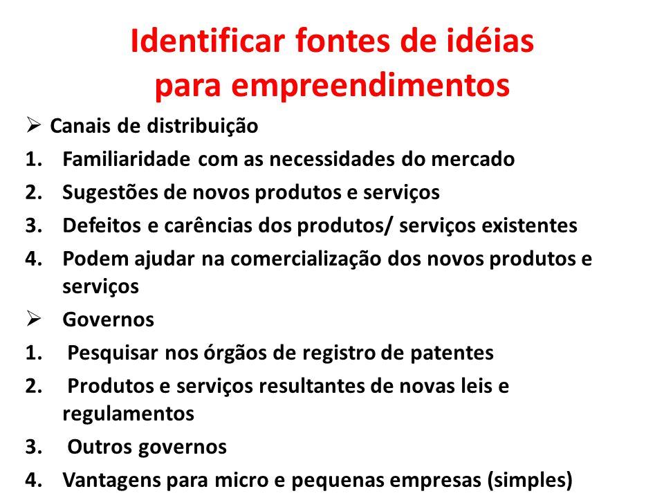 Identificar fontes de idéias para empreendimentos  Canais de distribuição 1.Familiaridade com as necessidades do mercado 2.Sugestões de novos produto