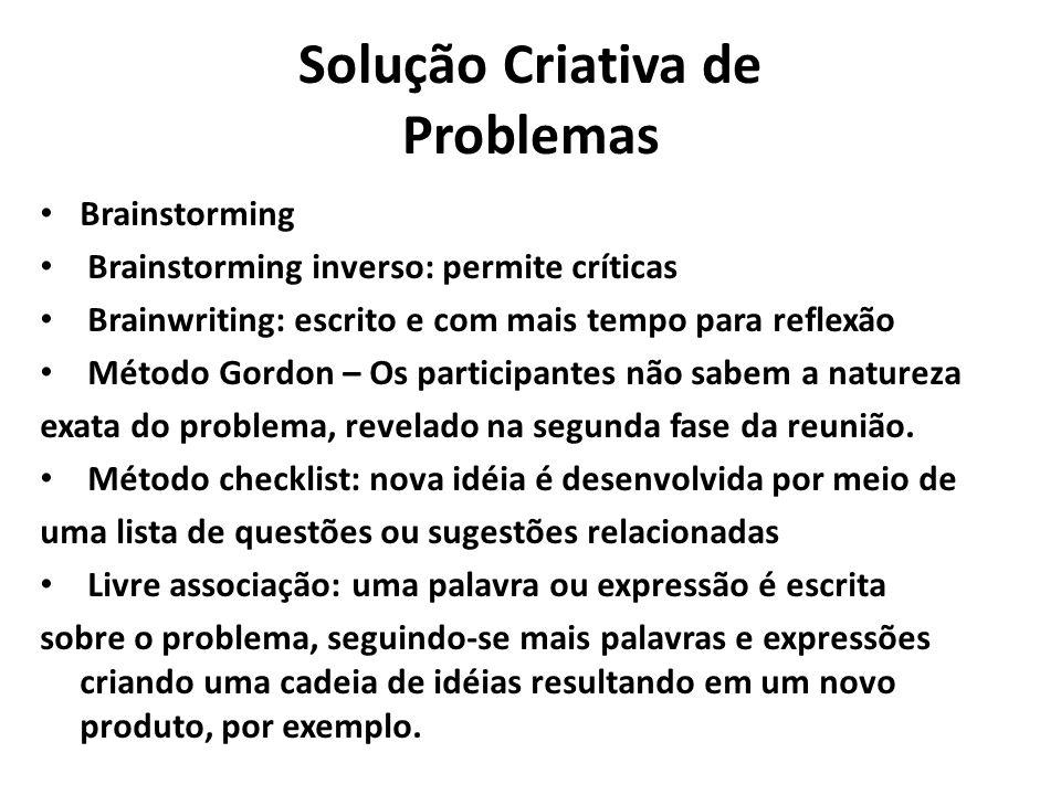 Solução Criativa de Problemas Brainstorming Brainstorming inverso: permite críticas Brainwriting: escrito e com mais tempo para reflexão Método Gordon
