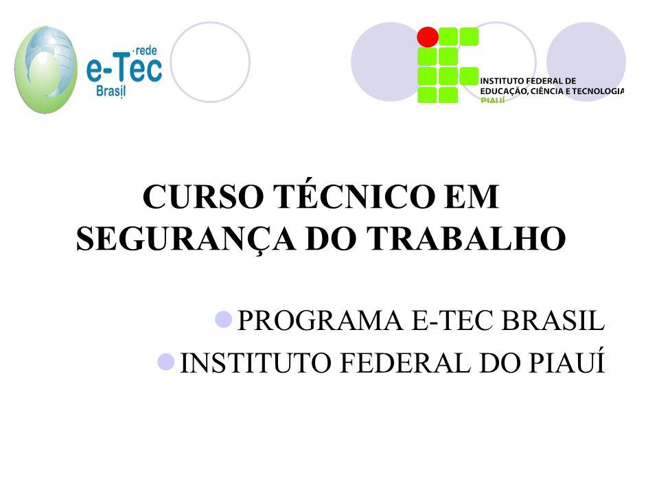CURSO TÉCNICO EM SEGURANÇA DO TRABALHO PROGRAMA E-TEC BRASIL INSTITUTO FEDERAL DO PIAUÍ
