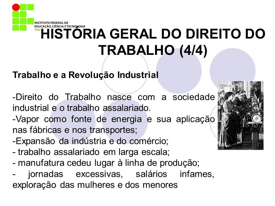 Trabalho e a Revolução Industrial -Direito do Trabalho nasce com a sociedade industrial e o trabalho assalariado. -Vapor como fonte de energia e sua a