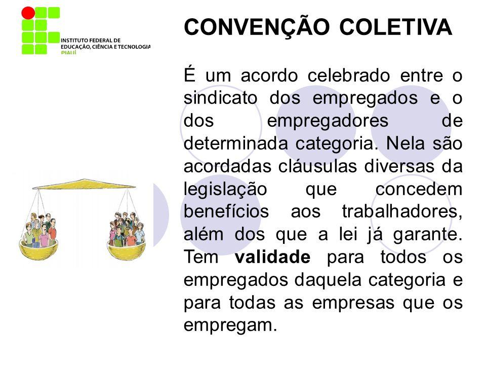 CONVENÇÃO COLETIVA É um acordo celebrado entre o sindicato dos empregados e o dos empregadores de determinada categoria. Nela são acordadas cláusulas