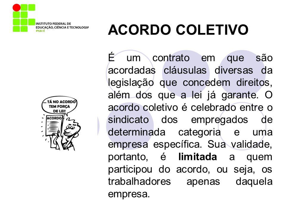 ACORDO COLETIVO É um contrato em que são acordadas cláusulas diversas da legislação que concedem direitos, além dos que a lei já garante. O acordo col