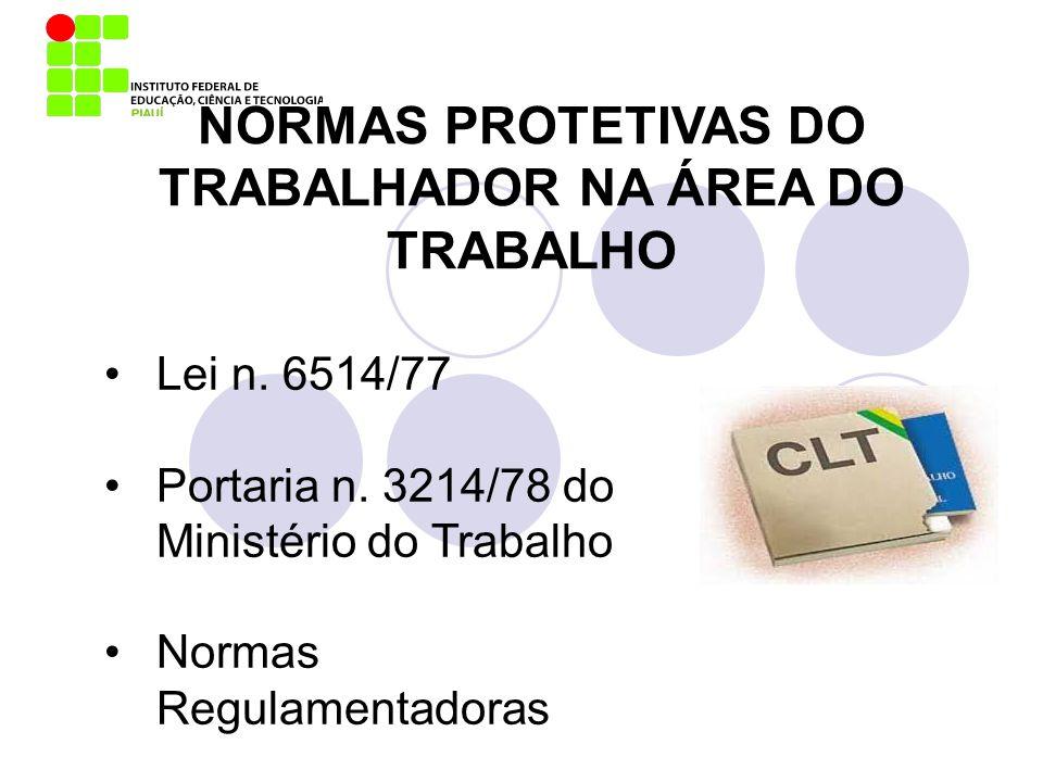 NORMAS PROTETIVAS DO TRABALHADOR NA ÁREA DO TRABALHO Lei n. 6514/77 Portaria n. 3214/78 do Ministério do Trabalho Normas Regulamentadoras