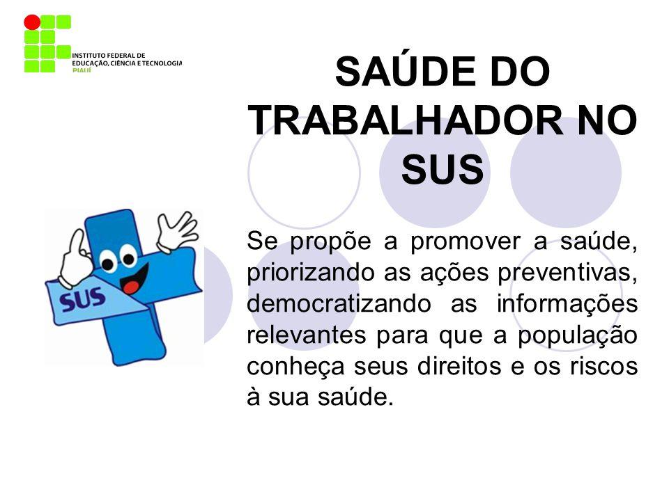 SAÚDE DO TRABALHADOR NO SUS Se propõe a promover a saúde, priorizando as ações preventivas, democratizando as informações relevantes para que a popula
