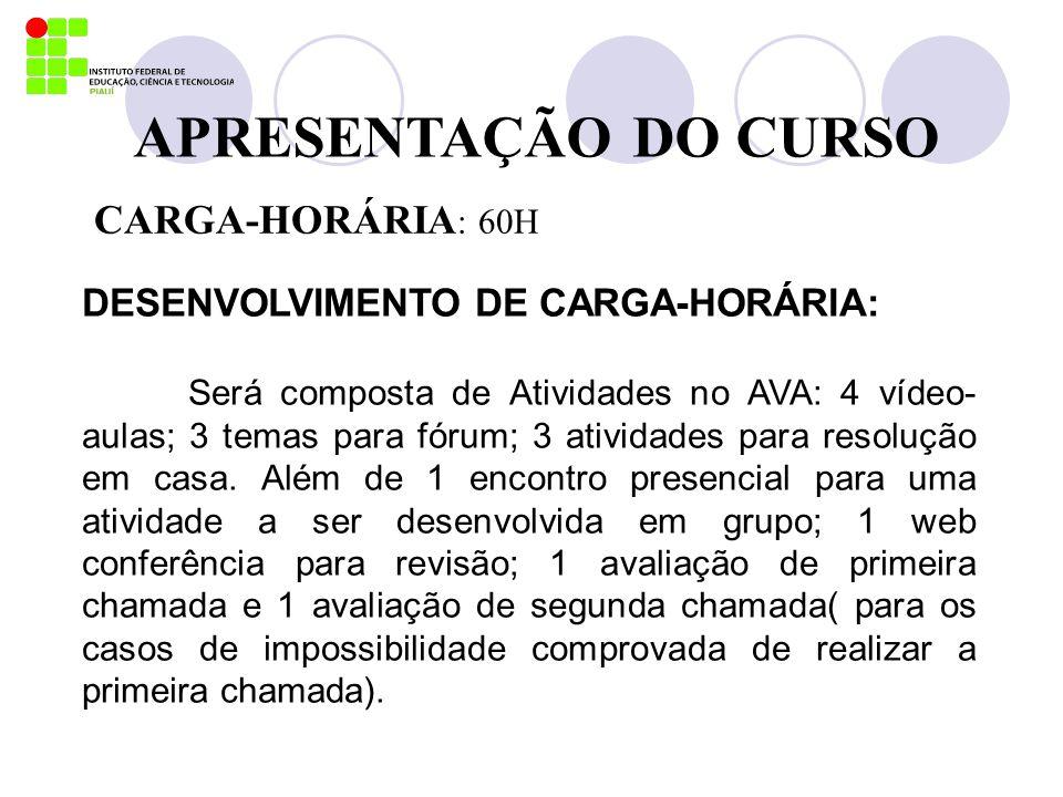 APRESENTAÇÃO DO CURSO CARGA-HORÁRIA : 60H DESENVOLVIMENTO DE CARGA-HORÁRIA: Será composta de Atividades no AVA: 4 vídeo- aulas; 3 temas para fórum; 3