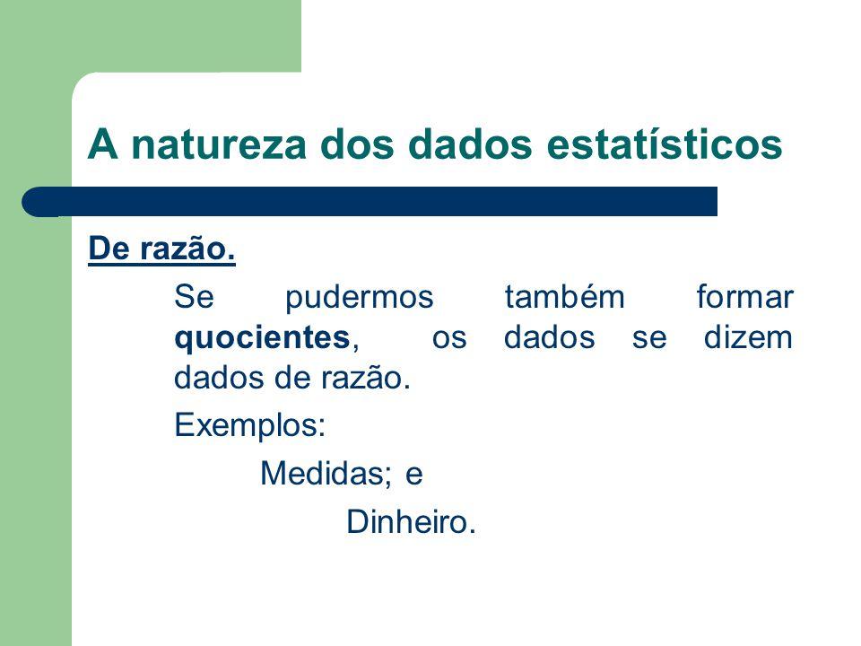 A natureza dos dados estatísticos De razão.