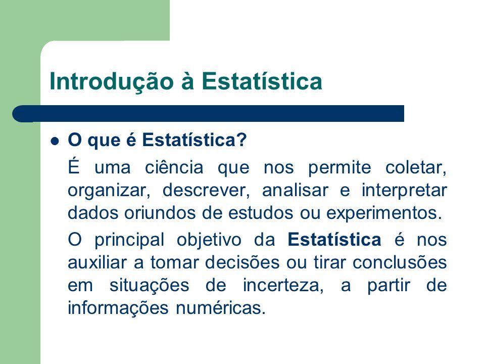 Existem essencialmente dois tipos de dados estatísticos: dados numéricos; dados categóricos.