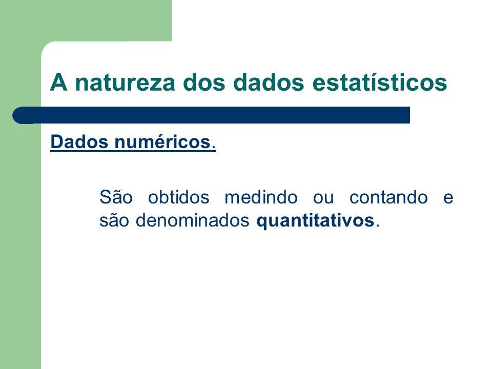 Dados numéricos. São obtidos medindo ou contando e são denominados quantitativos.