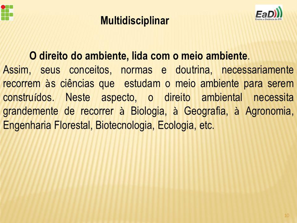 Multidisciplinar O direito do ambiente, lida com o meio ambiente.