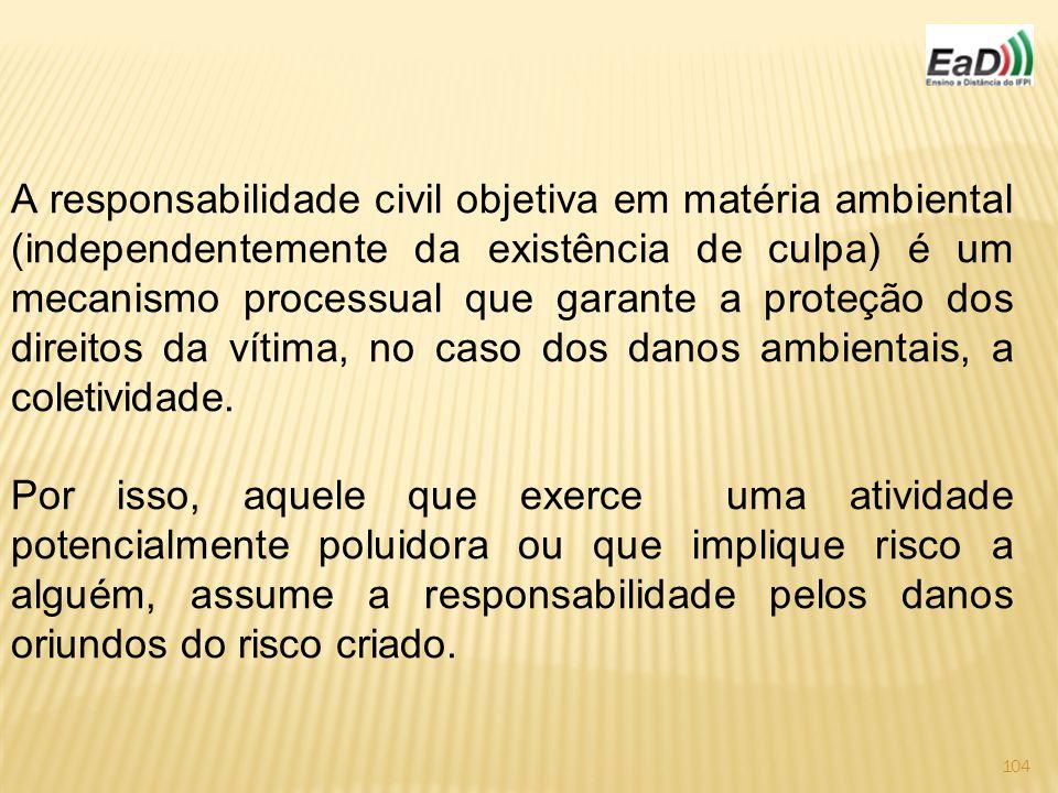 104 A responsabilidade civil objetiva em matéria ambiental (independentemente da existência de culpa) é um mecanismo processual que garante a proteção dos direitos da vítima, no caso dos danos ambientais, a coletividade.