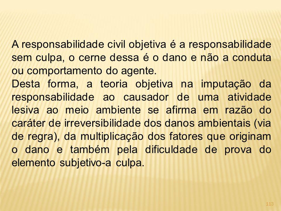 113 A responsabilidade civil objetiva é a responsabilidade sem culpa, o cerne dessa é o dano e não a conduta ou comportamento do agente.